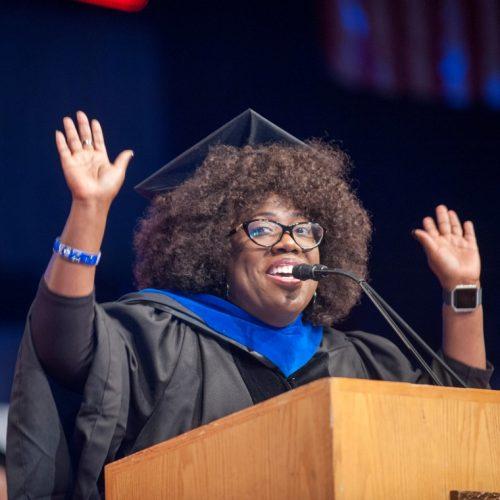 black alumni giving commencement speech
